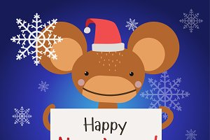 Christmas ape monkey vector
