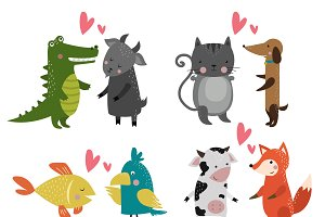 Cartoon animals couples vector