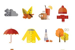 Autumn clothes items vector