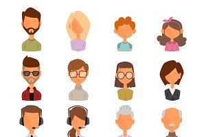 People portrait face icons vector