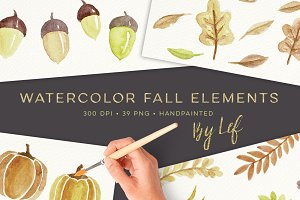 Fall Watercolor Elements Graphics