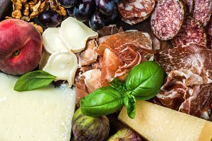 Italian snacks for wine variety
