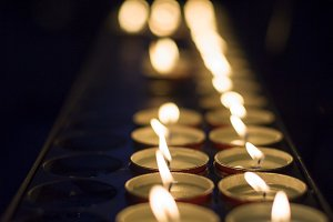 Wax candlelights giving light in the