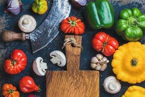 Fall harvest colorful vegetable set