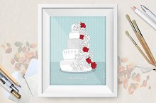 Set of nice wedding cakes posters