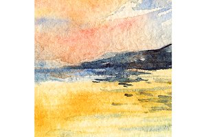 Watercolor sunset sky sea landscape