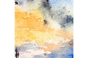 Watercolor sunset sky clouds texture