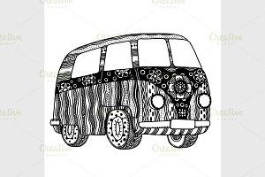 Hippie vintage car