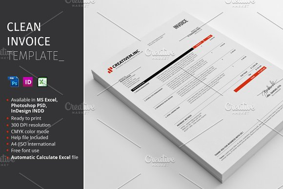Clean Invoice Template Stationery Templates Creative Market