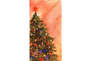 Watercolor Christmas tree with star