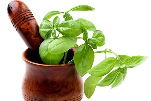 Basil in Mortar with Pestle
