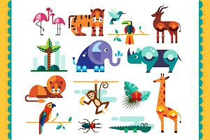 Jungle, Tropic Animals and landscape