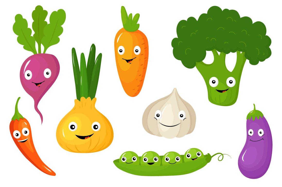Funny Various Cartoon Vegetables ~ Illustrations ...