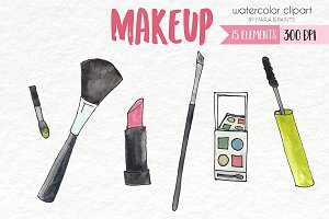 Watercolor Clip Art - Makeup