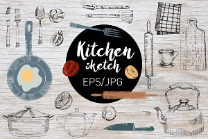 Kitchen sketch. Vector set