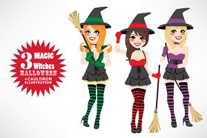 Halloween Witches With Cauldron