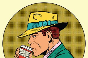 Retro man drinking coffee