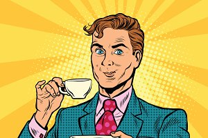 Retro businessman drinking tea