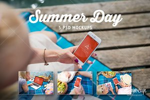 5 PSD Mockups Summer Day