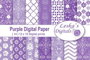 Purple Damask Digital Paper