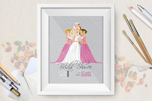 Bridal Shower vector invitation