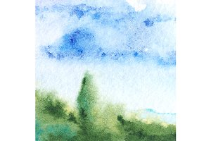 Watercolor Provence sky landscape