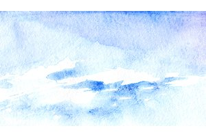 Watercolor blue sky clouds texture