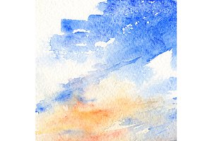 Watercolor sky clouds texture