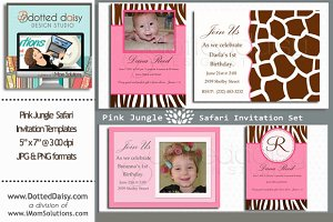 Pink Jungle Invitation Templates
