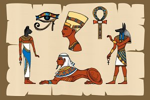 Ancient Egypt symbols on papyrus