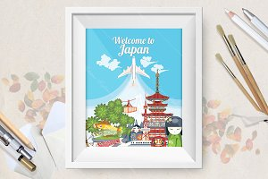 Welcome to Japan travel poster