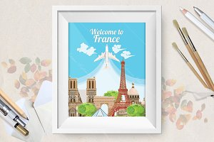 Welcome to France travel poster