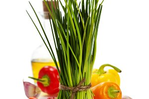 fresh chives and vegetables
