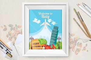 Welcome to Italy travel poster
