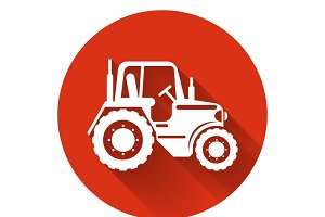 Flat tractor icon