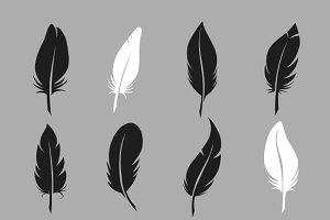 Fluffy feather vector icons