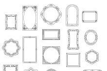 Doodle line frames set