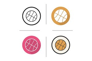 Basketball ball. 4 icons. Vector
