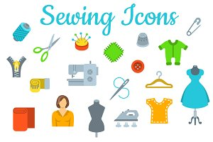 Sewing tools flat vector icons