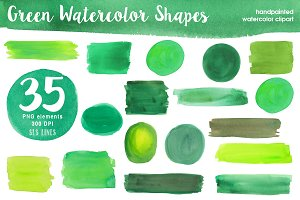 Green Watercolor Shapes