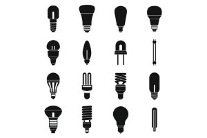 Light bulb icons set, simple style