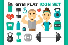 Gym flat vector illustration set