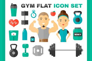 Gym flat vector illustration set
