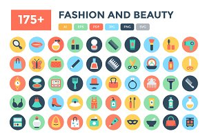 175+ Flat Fashion and Beauty Icons