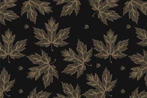 Autumn leaves vector pattern