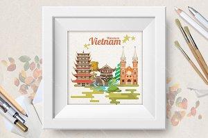 Travel posters set of Vietnam