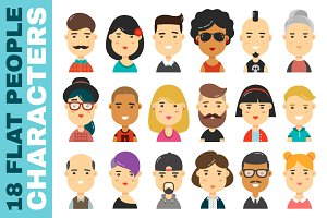 Set of 18 people flat characters