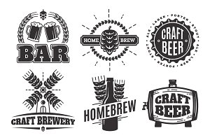 Craft beer vintage logos