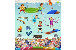 Sport characters, vector icon set