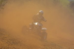 Rider on quad bike.